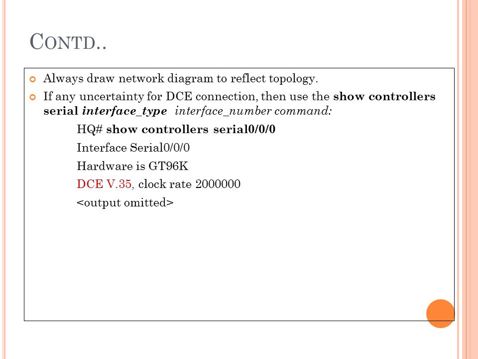 Contd.. Always draw network diagram to reflect topology.