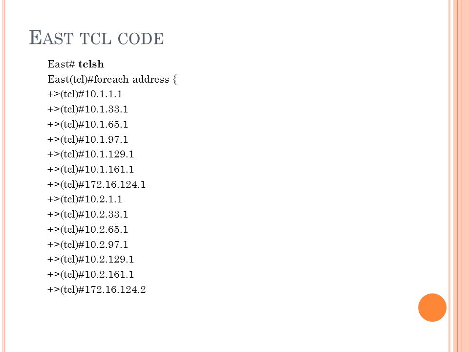 East tcl code
