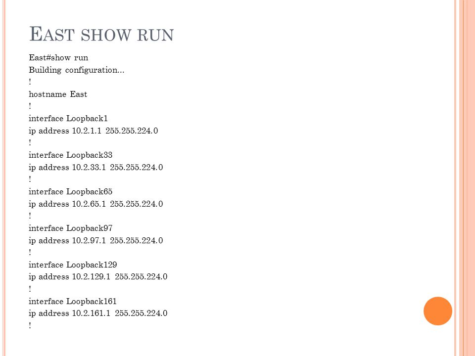East show run