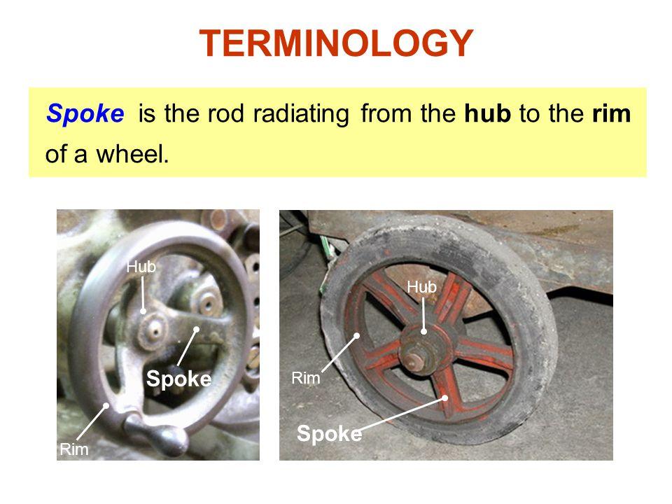TERMINOLOGY Spoke is the rod radiating from the hub to the rim of a wheel. Hub. Hub. Spoke. Rim.