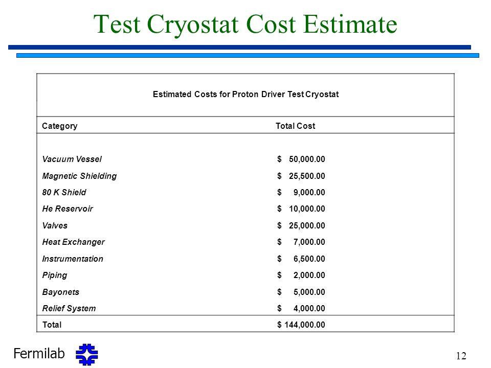 Test Cryostat Cost Estimate