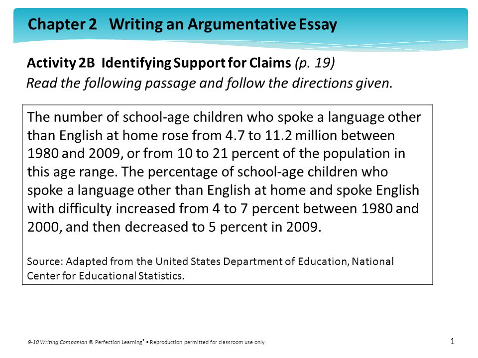 Activity 2B Identifying Support for Claims (p. 19)