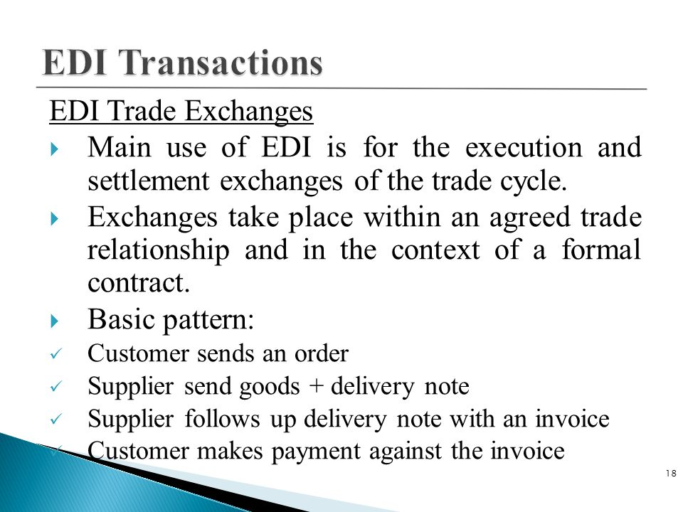 EDI Transactions EDI Trade Exchanges