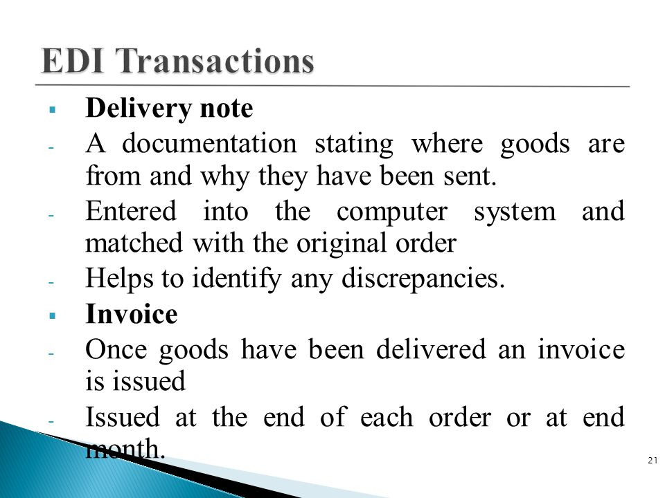 EDI Transactions Delivery note