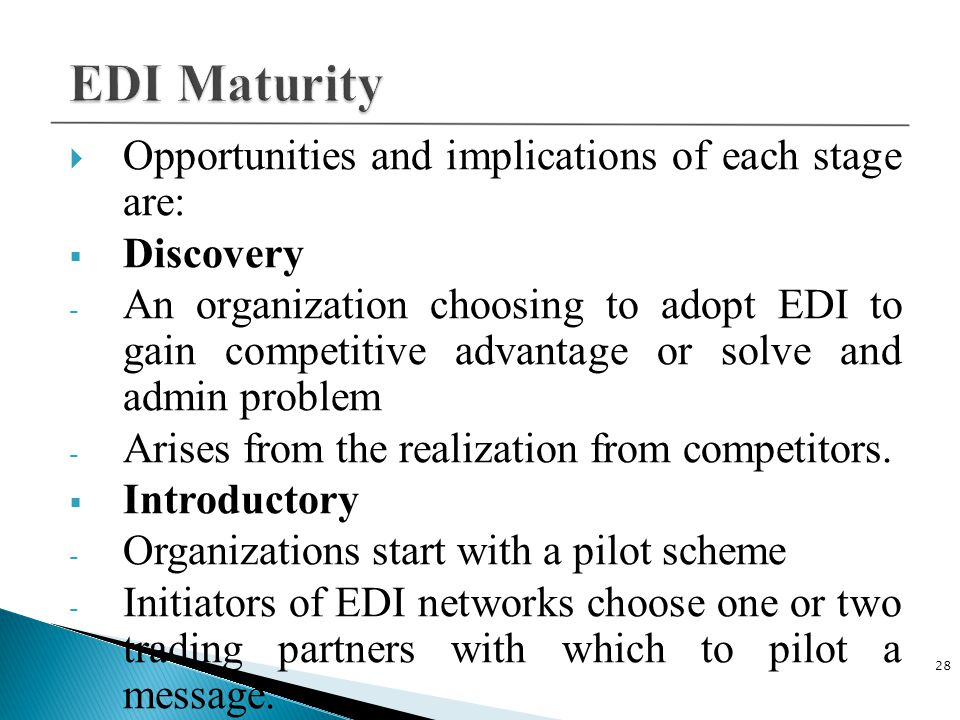 EDI Maturity Opportunities and implications of each stage are:
