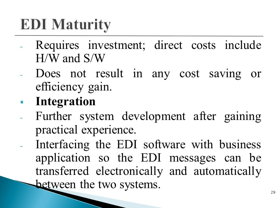 EDI Maturity Requires investment; direct costs include H/W and S/W