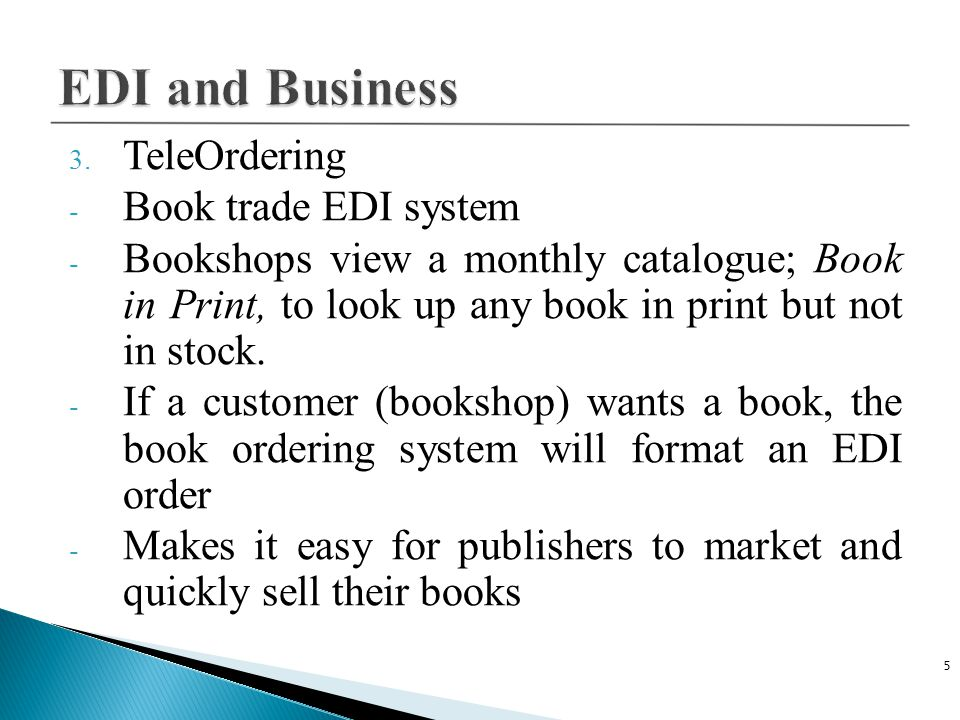 EDI and Business TeleOrdering Book trade EDI system