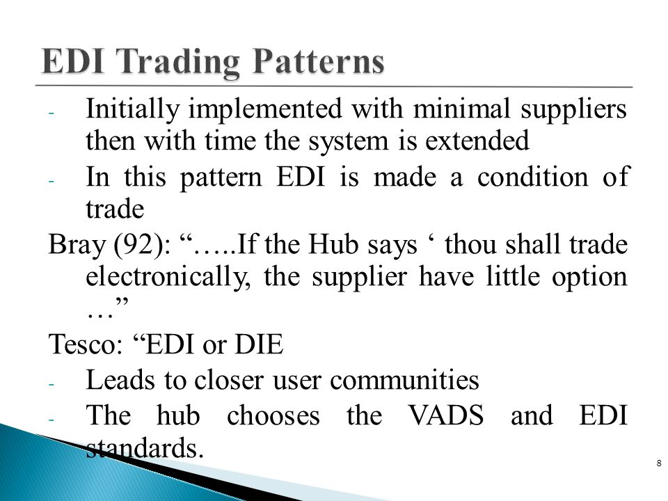 C Plus Plus 4/14/2017. EDI Trading Patterns. Initially implemented with minimal suppliers then with time the system is extended.