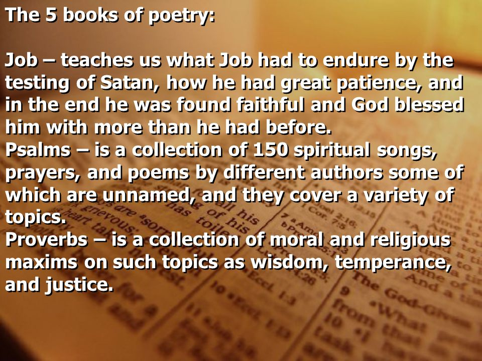 The 5 books of poetry: