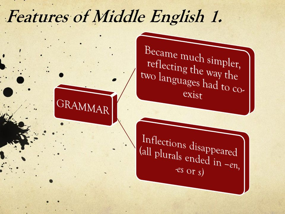 Features of Middle English 1.