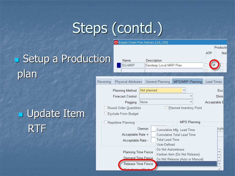 Steps (contd.) Setup a Production plan Update Item RTF