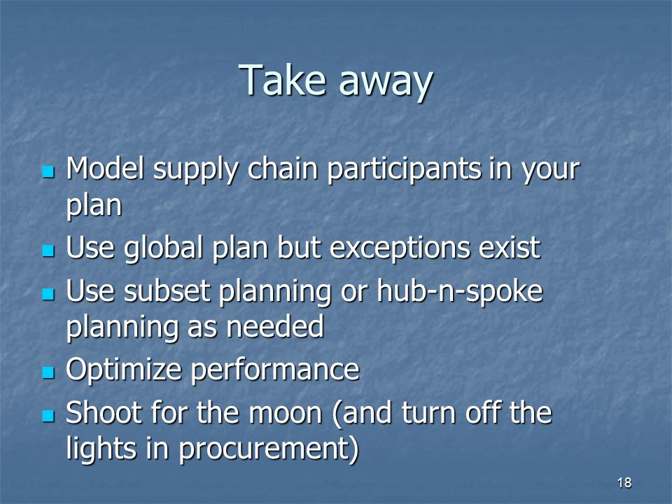 Take away Model supply chain participants in your plan