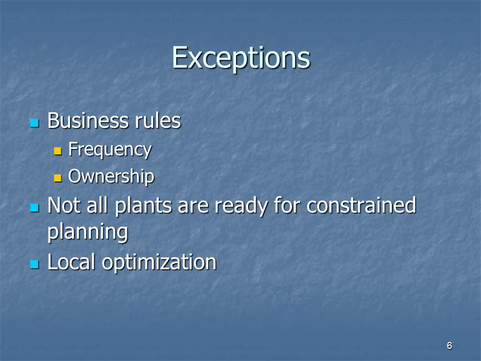 Exceptions Business rules