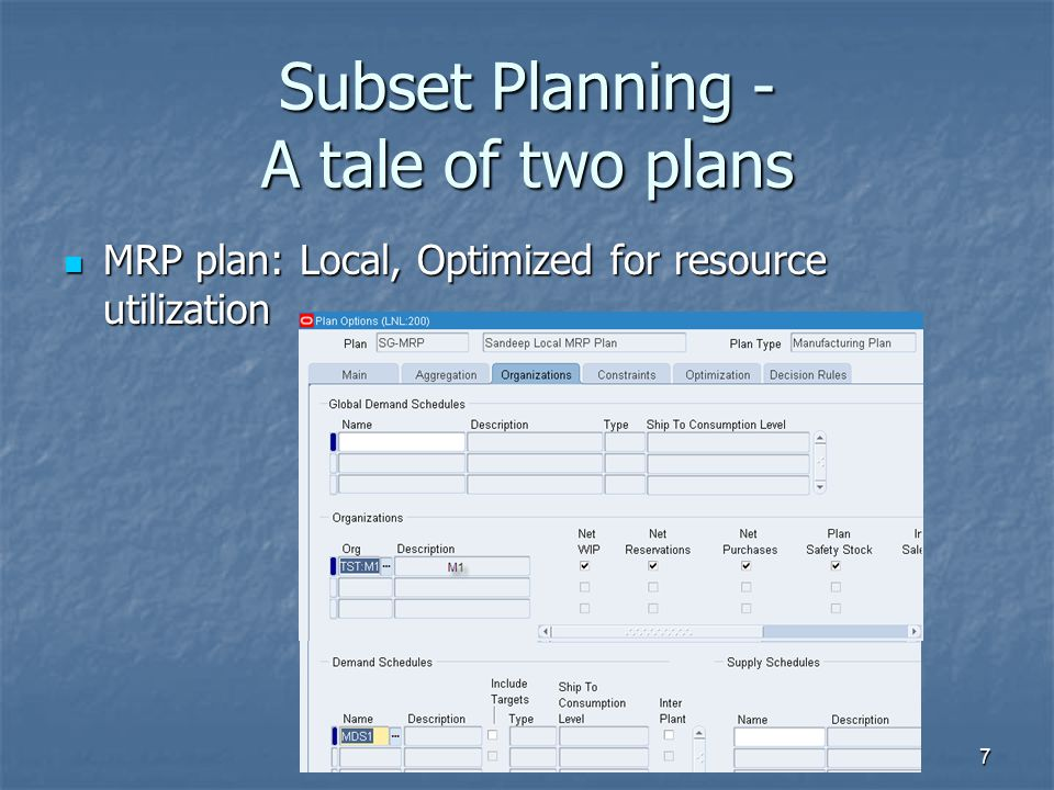 Subset Planning - A tale of two plans