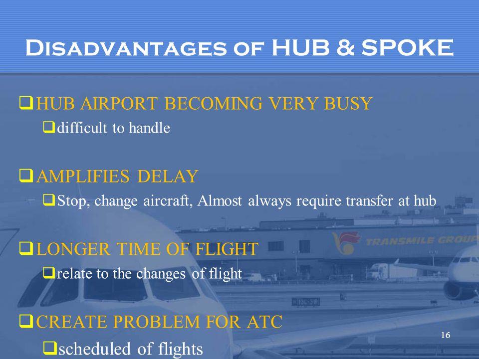 Disadvantages of HUB & SPOKE
