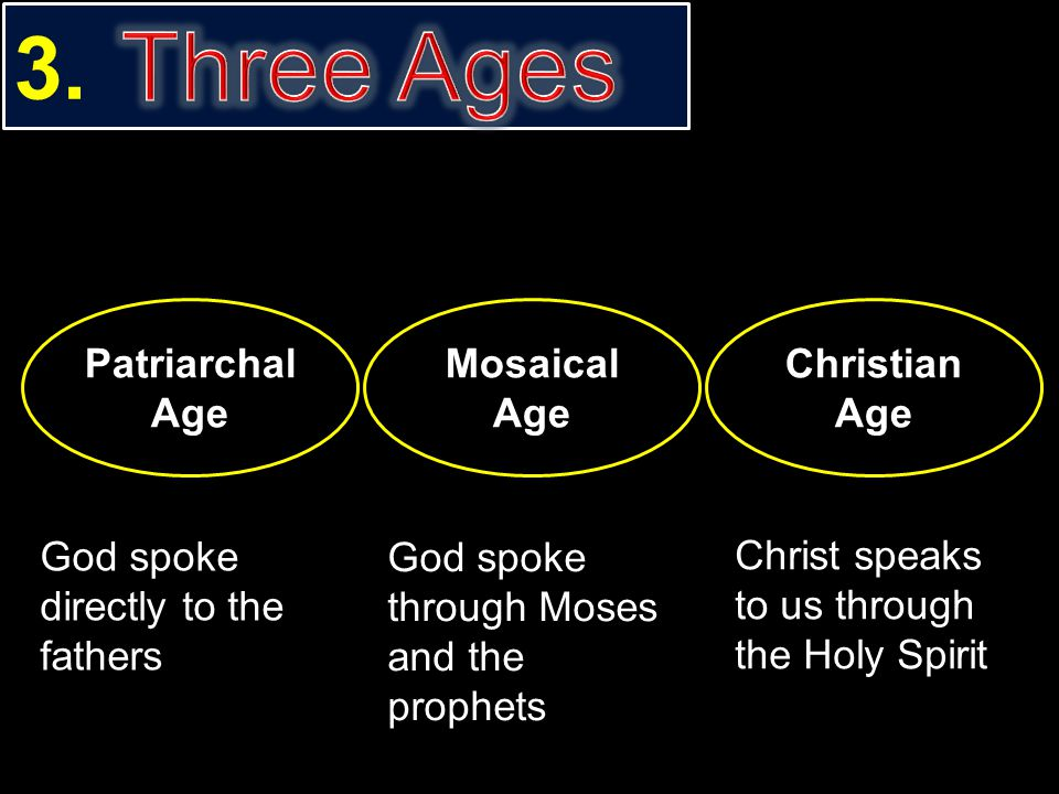 Three Ages 3. Patriarchal Age Mosaical Age Christian Age
