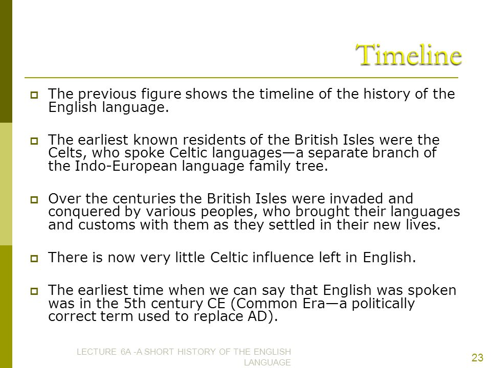 Timeline The previous figure shows the timeline of the history of the English language.