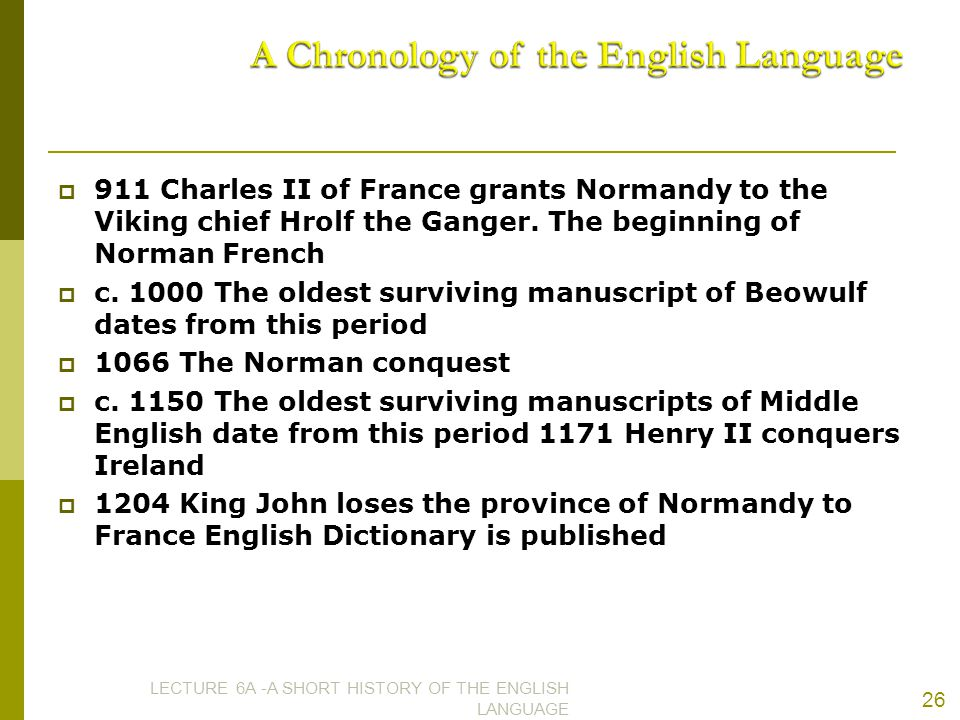 A Chronology of the English Language