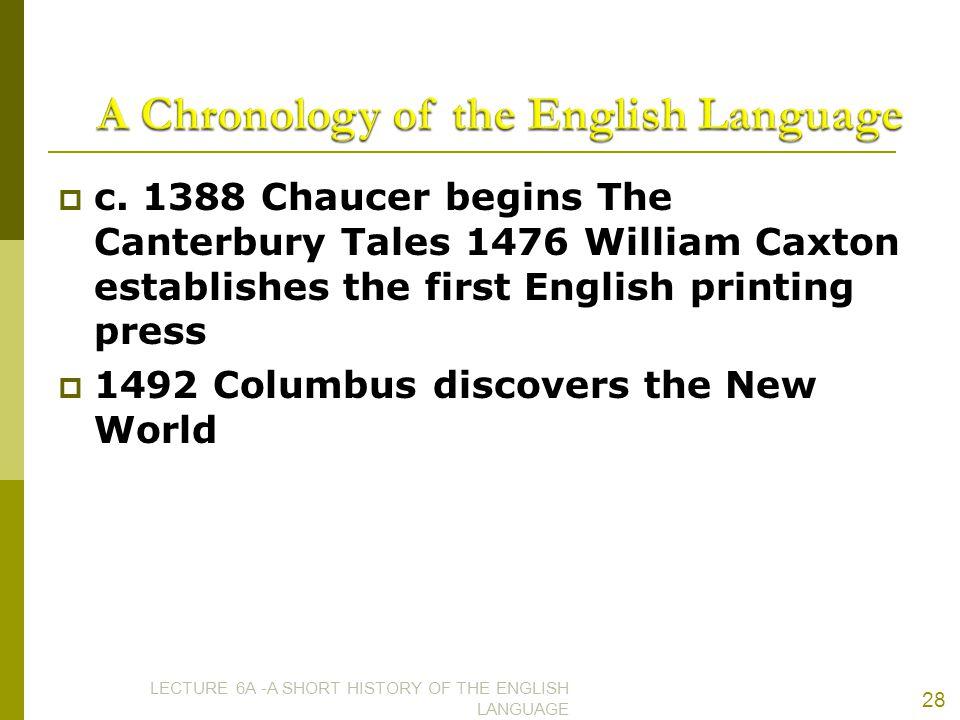 A Chronology of the English Language