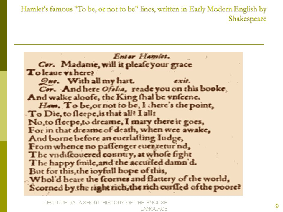 Hamlet s famous To be, or not to be lines, written in Early Modern English by Shakespeare