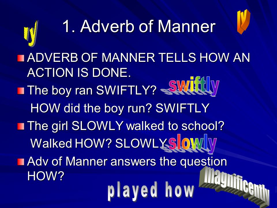 1. Adverb of Manner ly ly swiftly slowly magnificently played how