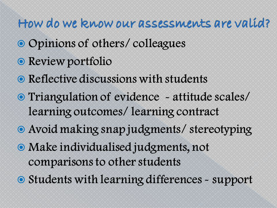 How do we know our assessments are valid
