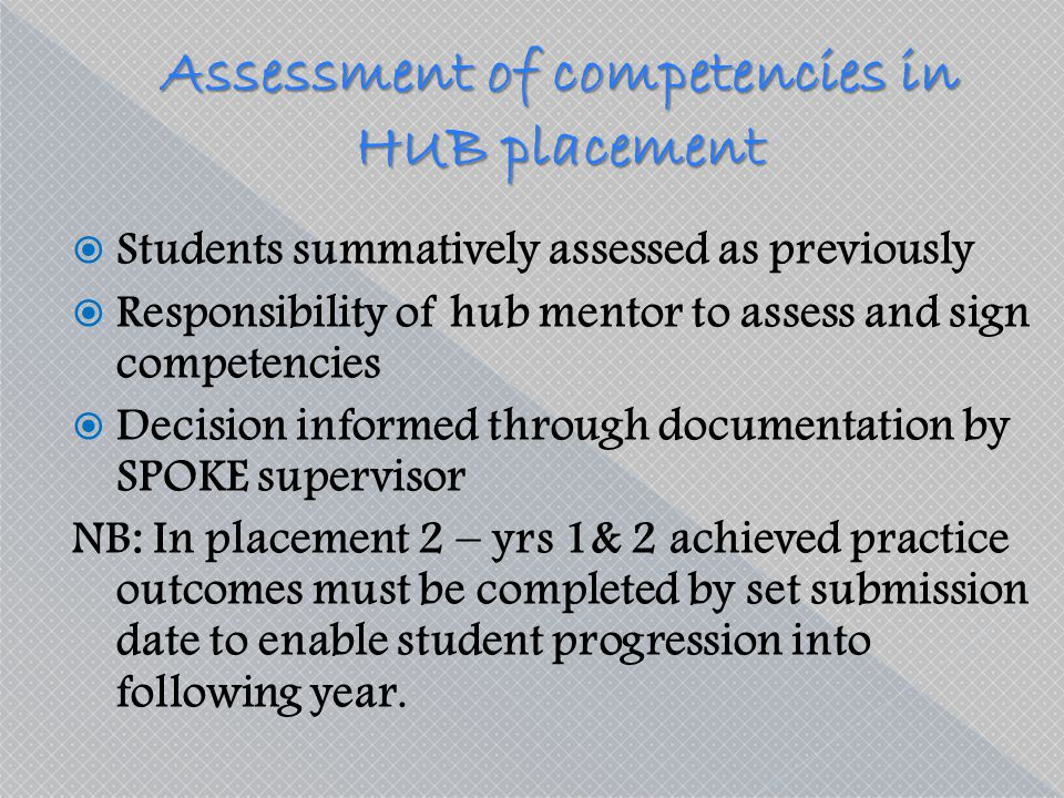 Assessment of competencies in HUB placement