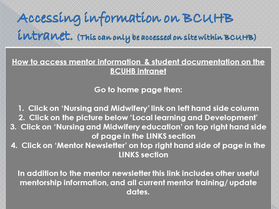 Accessing information on BCUHB intranet
