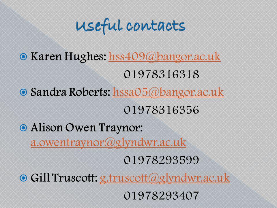 Useful contacts Karen Hughes: hss409@bangor.ac.uk 01978316318