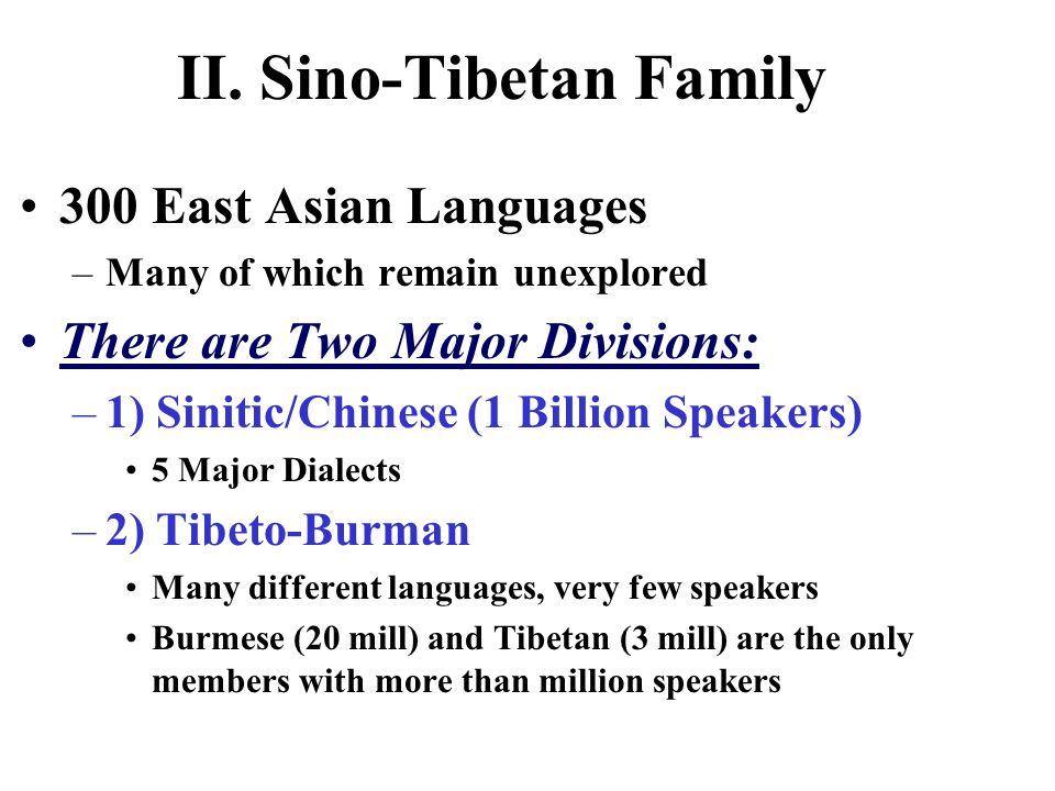 II. Sino-Tibetan Family