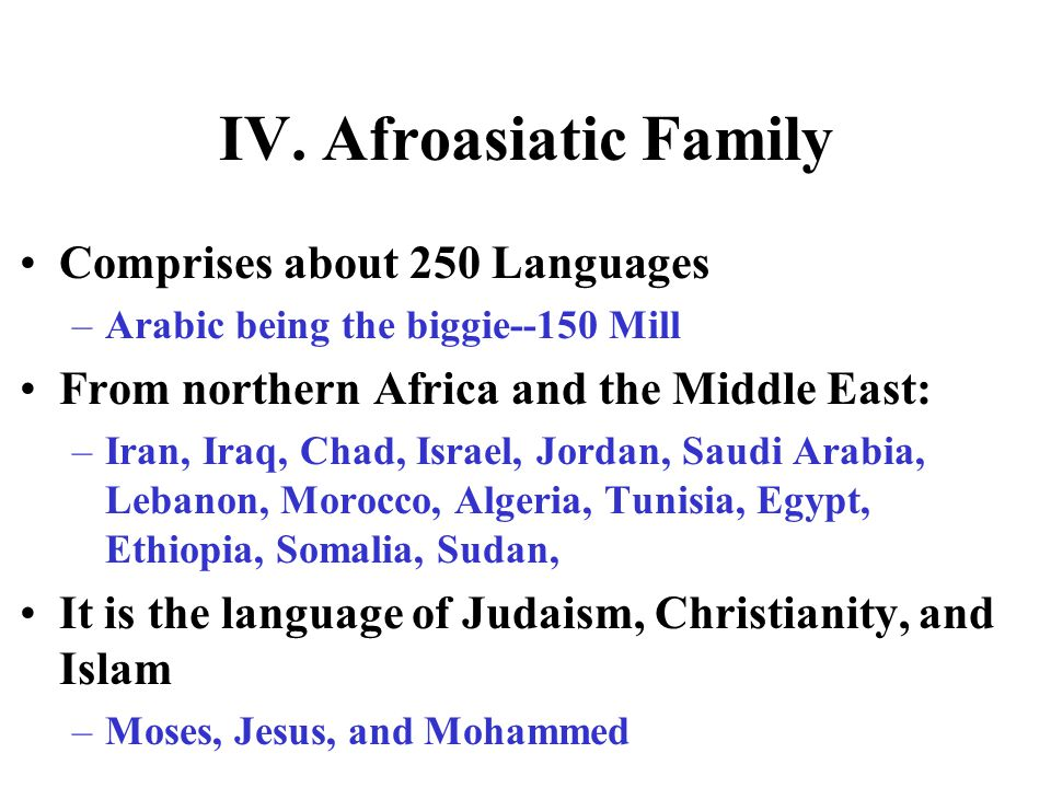 IV. Afroasiatic Family Comprises about 250 Languages
