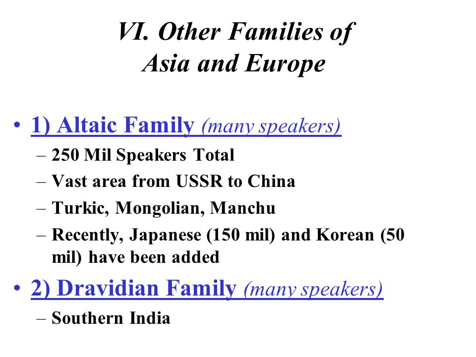 VI. Other Families of Asia and Europe