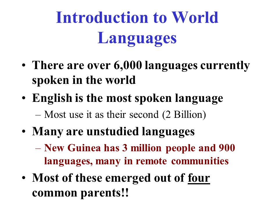 Introduction to World Languages