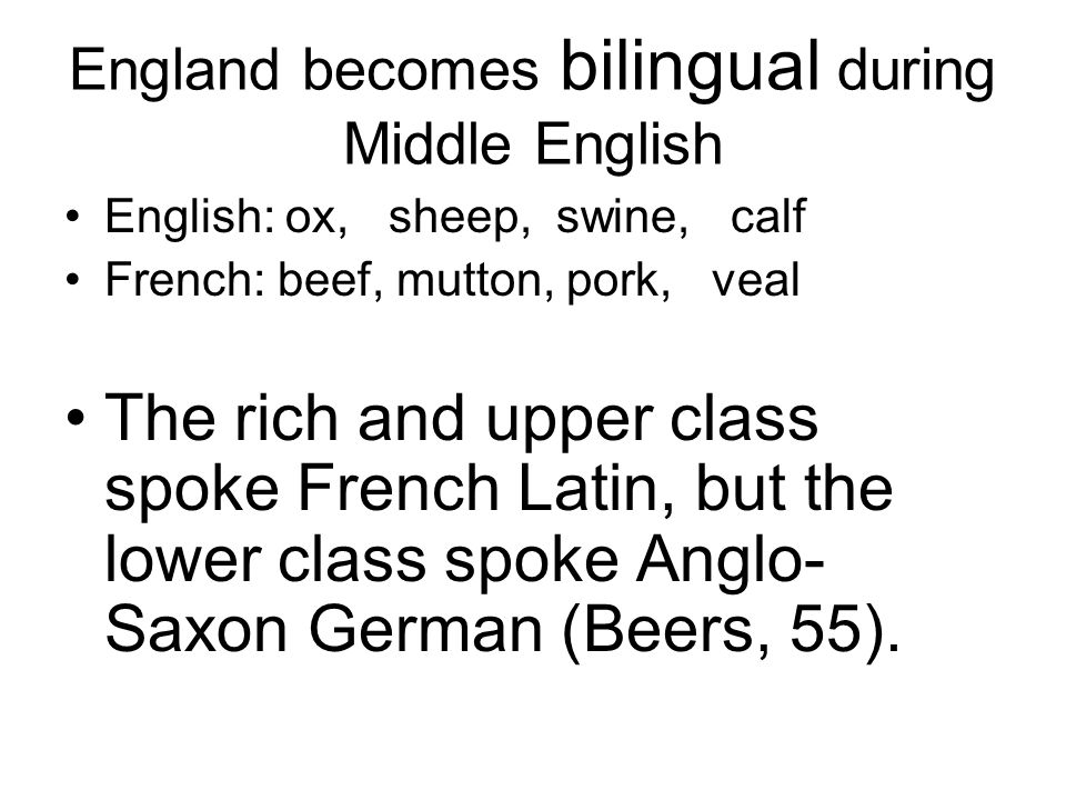 England becomes bilingual during Middle English