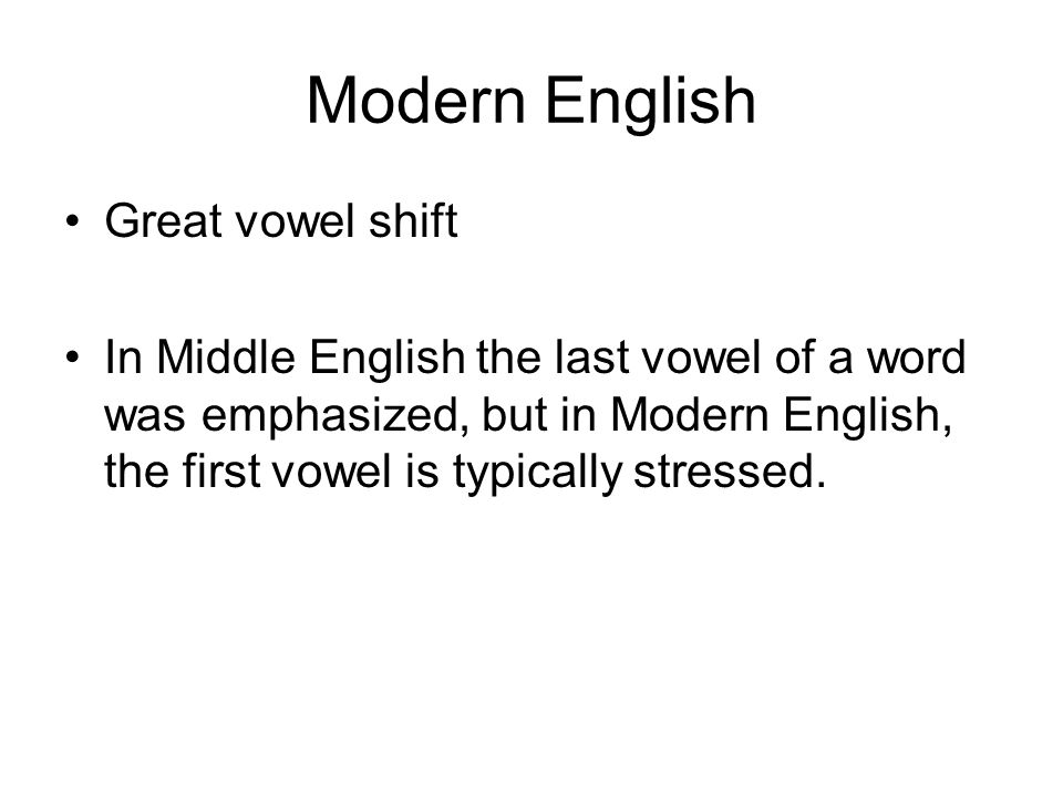 Modern English Great vowel shift