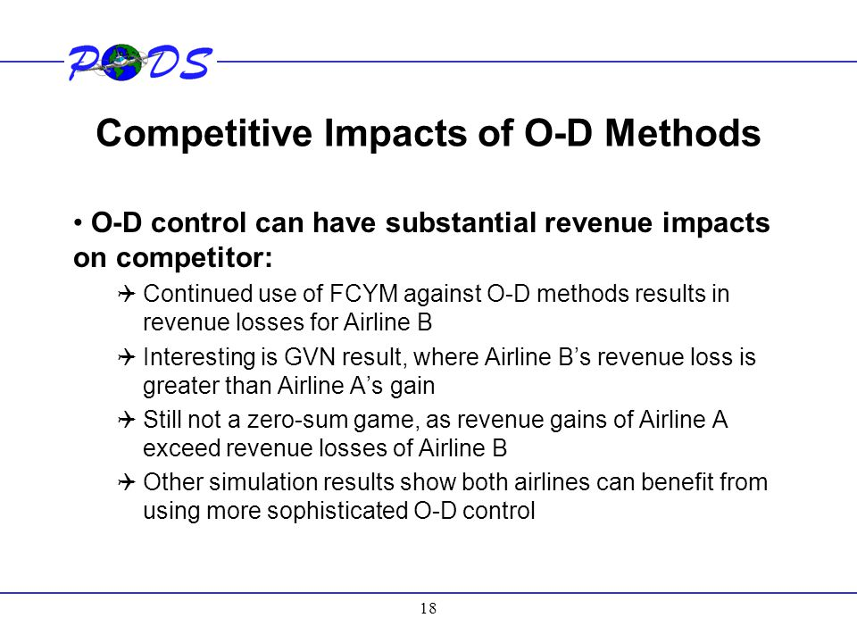 Competitive Impacts of O-D Methods