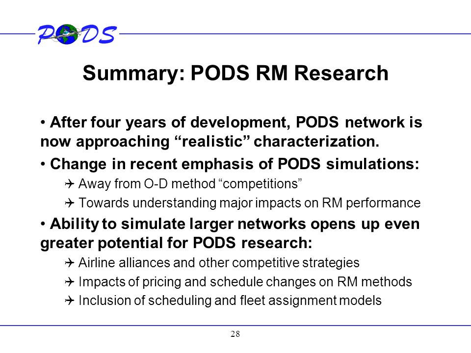 Summary: PODS RM Research