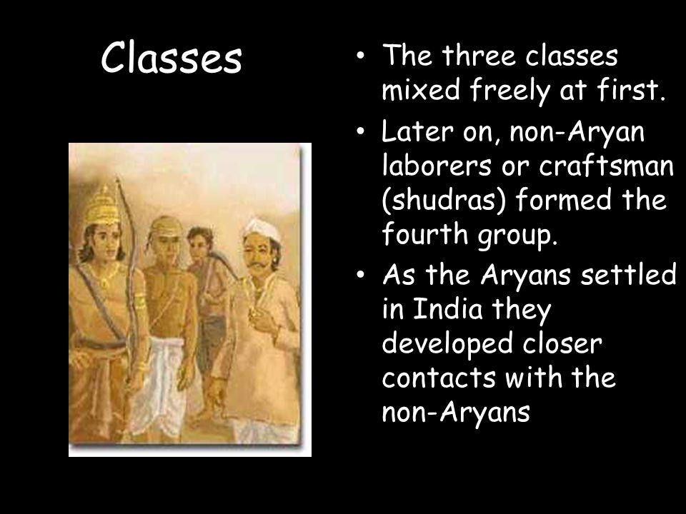 Classes The three classes mixed freely at first.