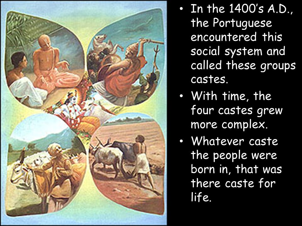 In the 1400's A.D., the Portuguese encountered this social system and called these groups castes.