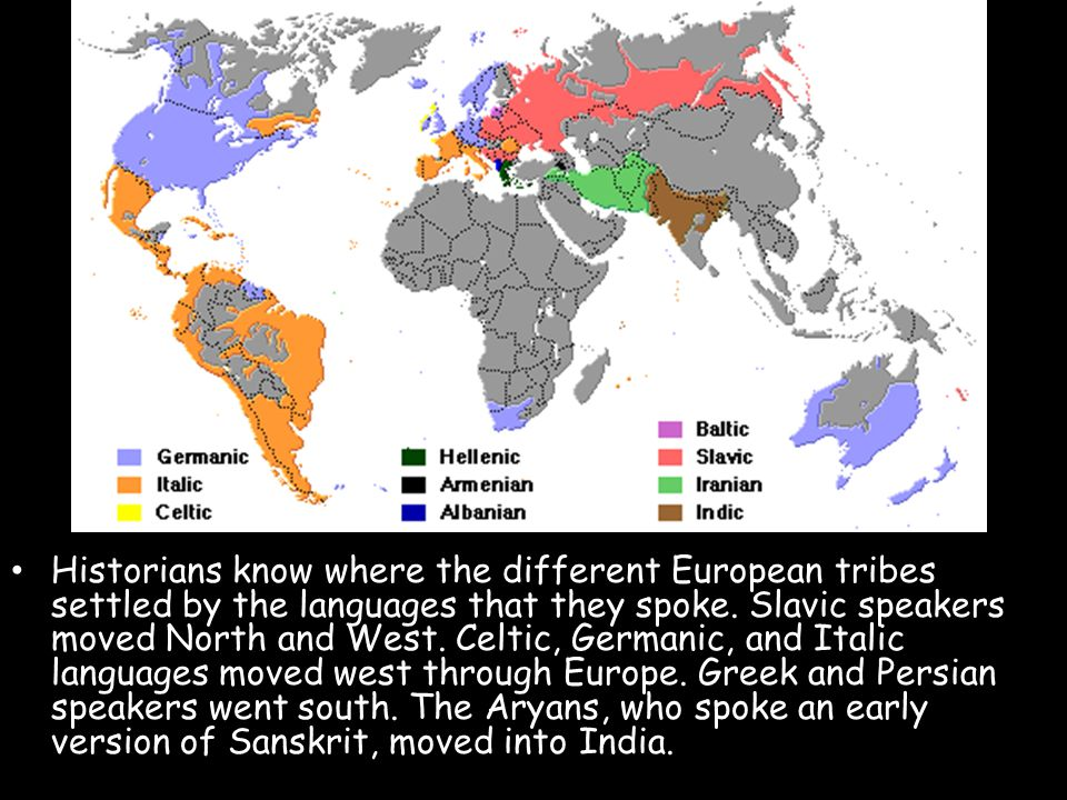 Historians know where the different European tribes settled by the languages that they spoke.