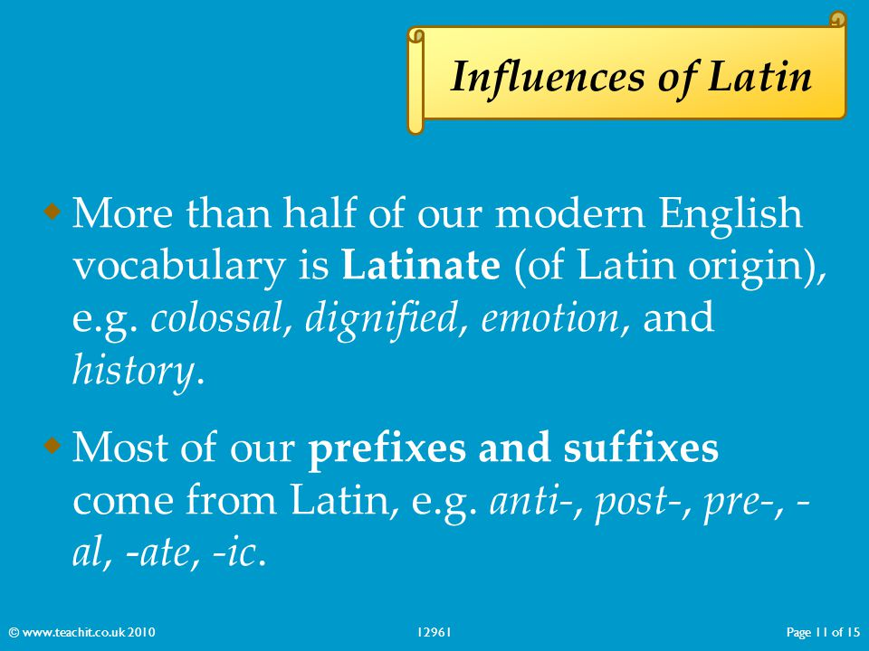 Influences of Latin More than half of our modern English vocabulary is Latinate (of Latin origin), e.g. colossal, dignified, emotion, and history.