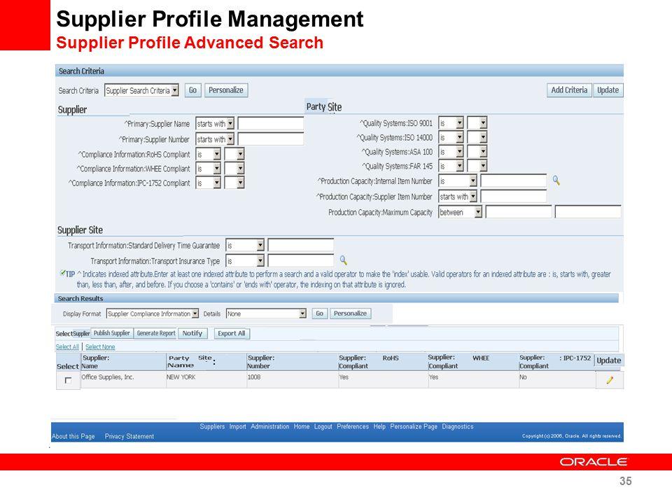 Supplier Profile Management Supplier Profile Advanced Search
