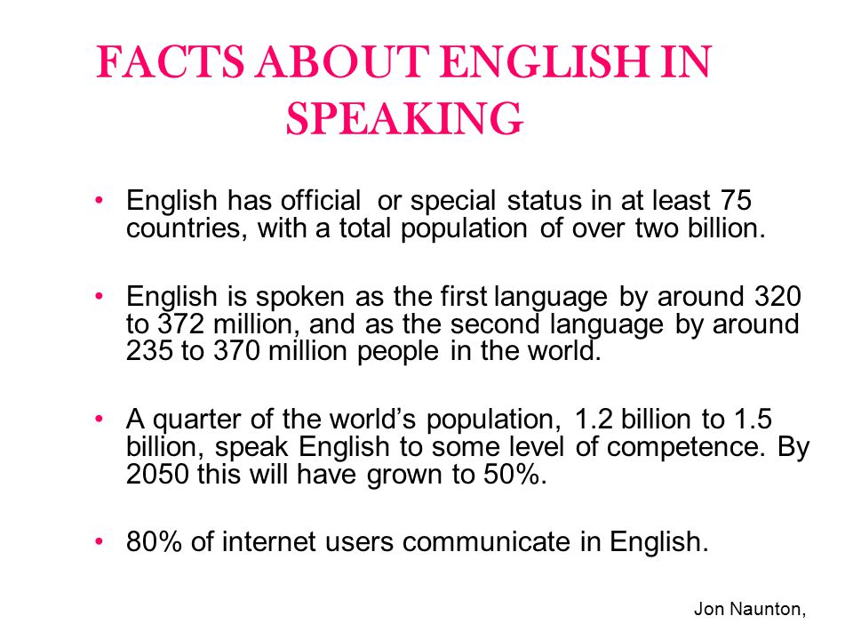 FACTS ABOUT ENGLISH IN SPEAKING
