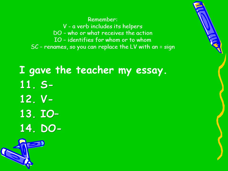 I gave the teacher my essay. 11. S- 12. V- 13. IO– 14. DO-