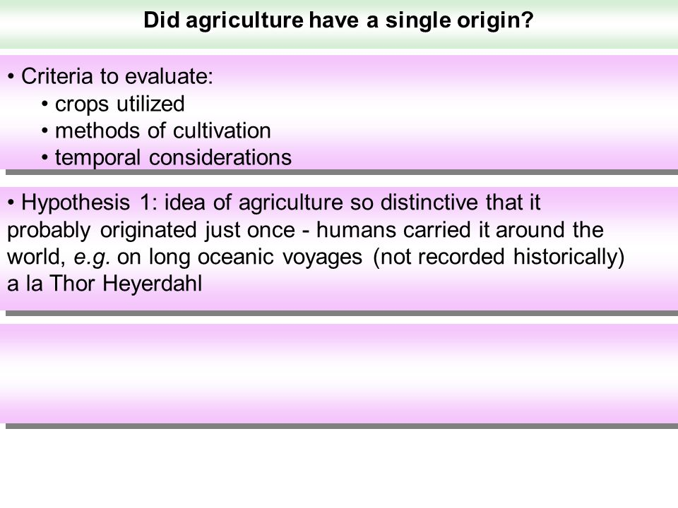 Did agriculture have a single origin