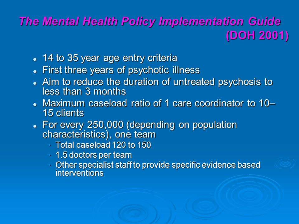 The Mental Health Policy Implementation Guide (DOH 2001)