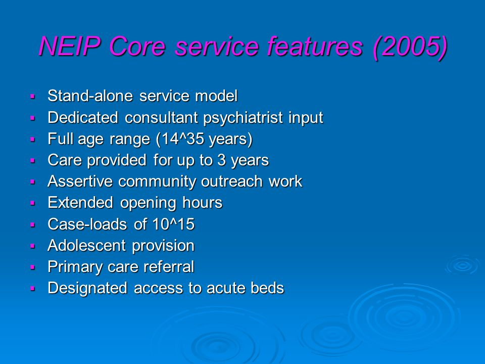 NEIP Core service features (2005)