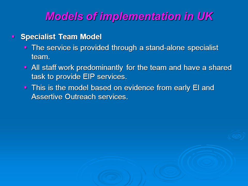 Models of implementation in UK