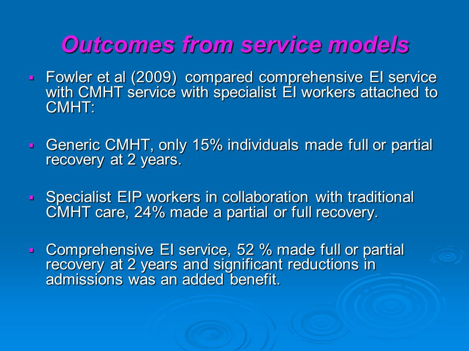 Outcomes from service models