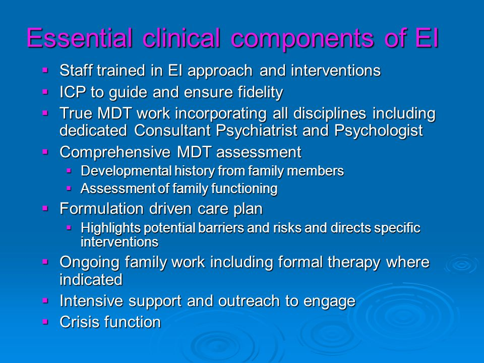 Essential clinical components of EI